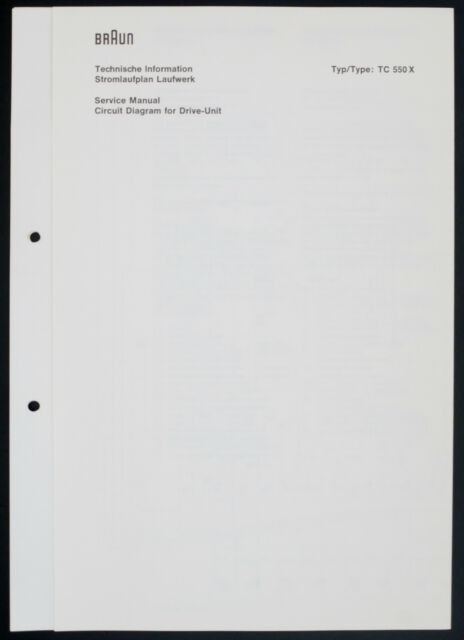 Braun TC-550 X Original Service Manual/Circuit Diagram