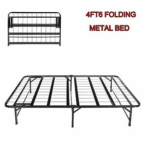 4FT6 Double Folding Guest Bed In Black Fold Up Away Spare