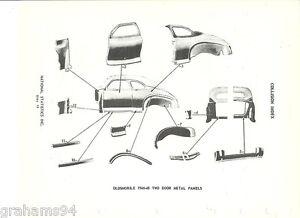 1946 47 48 Oldsmobile Two Door Body Panel NOS Part Guide