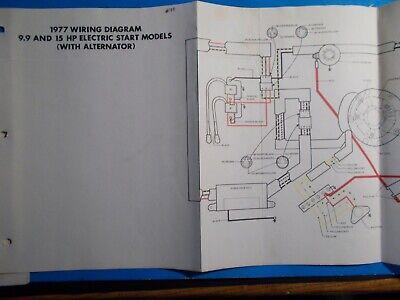 1977 johnson outboard motors 99hp  15hp electric start wiring diagram   ebay