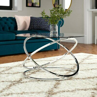 monarch clear glass round coffee table chrome base cft36 ch 5055018457631 ebay