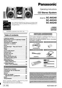 Panasonic SA-AK240 SA-AK340 SA-AK343 CD Stereo System