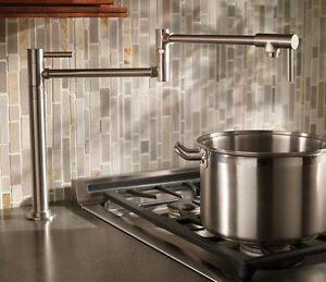 kitchen pot filler installing backsplash brass brushed nickel deck mounted sink tap faucet image is loading
