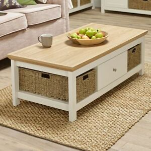 details about off white cream oak country coffee table with basket storage
