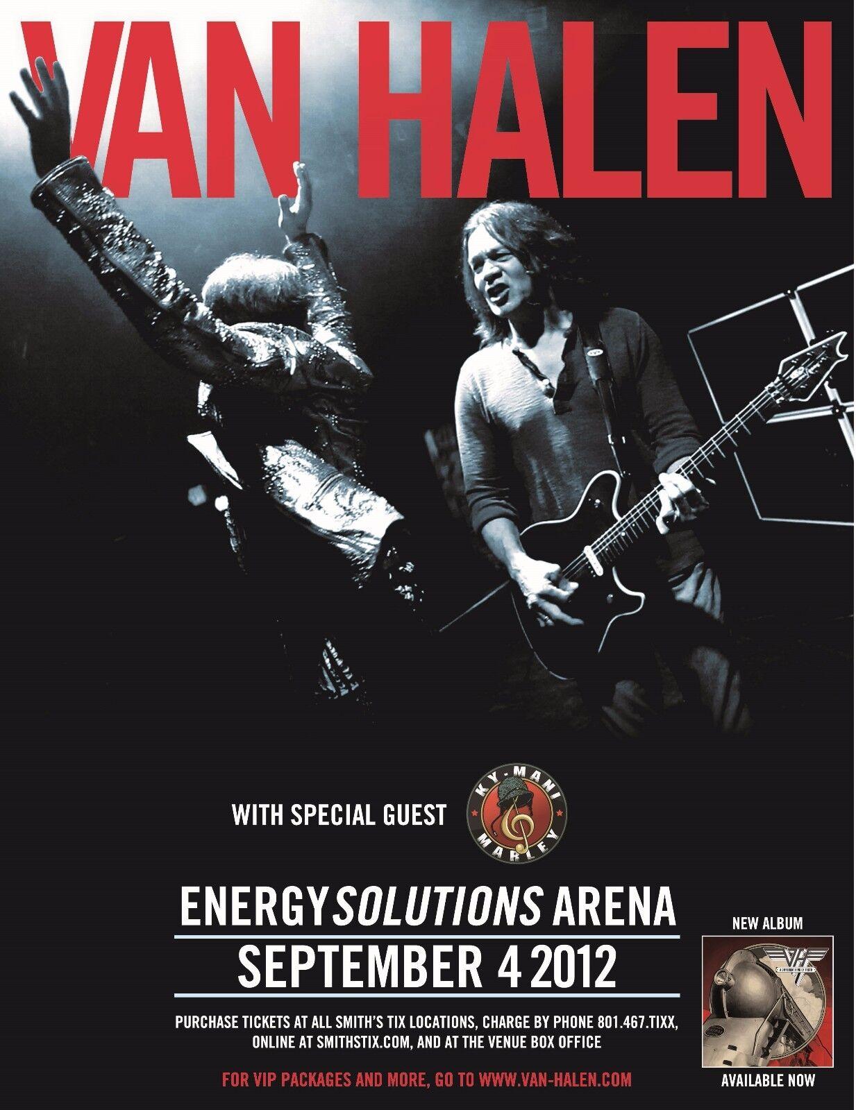 van halen 2012 salt lake concert tour poster eddie jamming with david lee roth