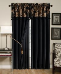 4 Pc Floral Window Curtain Set Bedroom Drape Valance Panel ...
