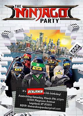 lego ninjago invitation lego party ninjago birthday invite ebay