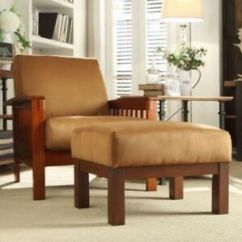 Brown Accent Chair With Ottoman Folding Picnic Chairs Homebase Mission Style Oak Mocha Room Furniture Image Is Loading Amp