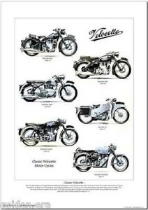 CLASSIC VELOCETTE MOTOR CYCLES A3 Size Art Print Mac MSS