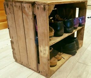 details about shabby chic wooden shoe rack new handmade vintage style shoe rack apple crate