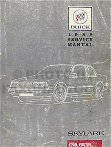 1989 Buick Skylark Shop Manual 89 Original Repair Service