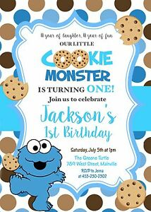 details about cookie monster one year 1st birthday party first birthday boy invitation