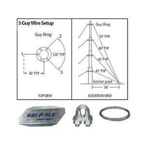 Antenna Guy Wire & Clamps Kit 40' ft Telescoping Mast Down