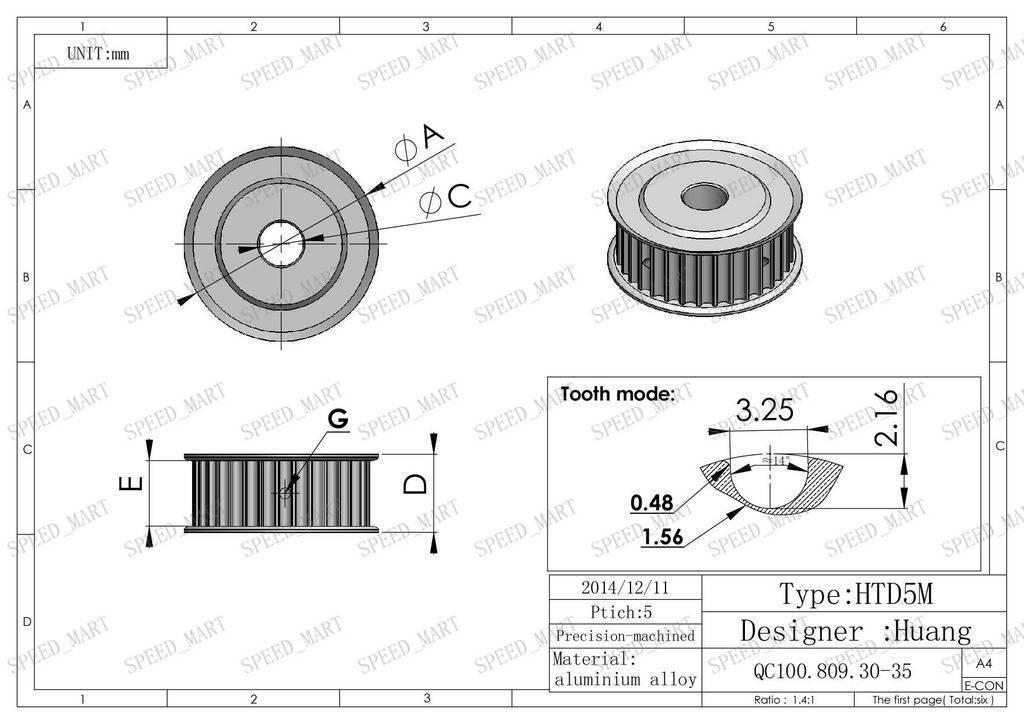 5M HTD5M Aluminum Timing Belt Pulley 30 Teeth 20mm Bore