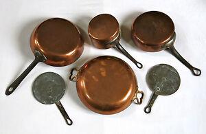 details sur cuivre ancien batterie de cuisine casserole poele sauteuse lot de cuivres