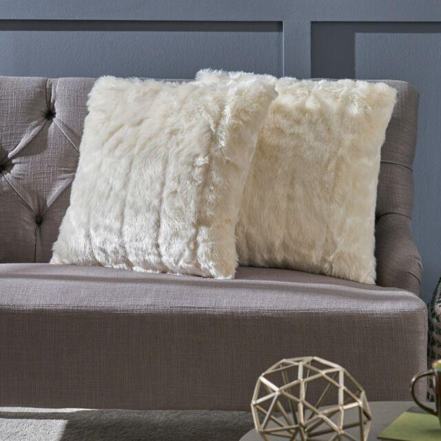 grey streak faux fur throw pillow