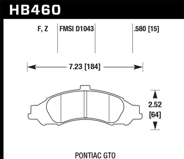 Disc Brake Pad Set-HPS Disc Brake Pad Front Hawk Perf fits