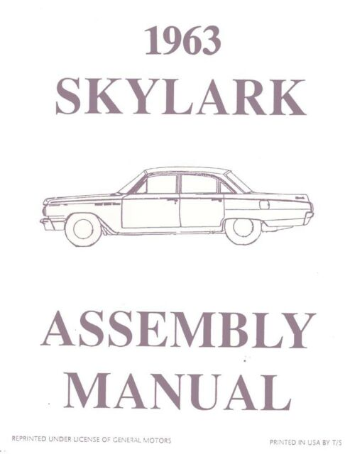 1963 Buick Skylark Assembly Manual Book Rebuild