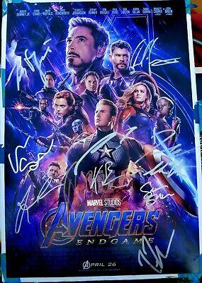 avengers endgame cast x13 hand signed chris hemsworth 12x18 photo ebay