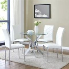 White Round Kitchen Table Tops Glass Dining Set And 4 Chairs Faux Leather Modern Chrome Legs