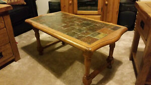 details about antique pine or oak coffee low table with slate tiled top