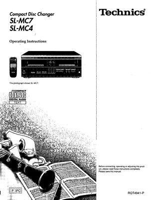 Technics SL-MC4 SL-MC7 CD Changer Owners Instruction