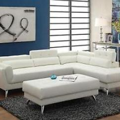 White Bonded Leather Sectional Sofa Set With Light Fabric Colour Combinations Poundex F6977 Ottoman Ebay Image Is Loading
