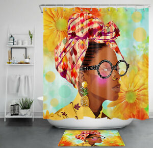details about african american sunflower girl shower curtain sets black women bathroom decor
