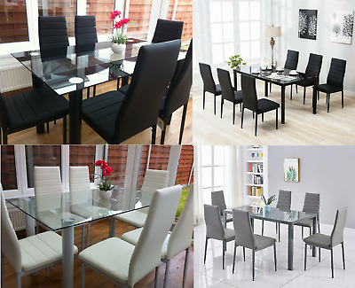Stunning Glass Dining Table Set With 4 Or 6 Faux Leather Chairs White Grey Black Ebay