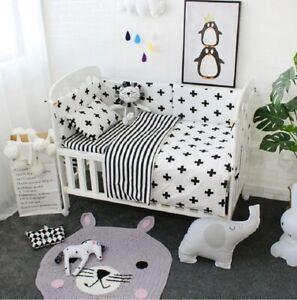 details about 3pcs baby bedding set cotton crib sets black white stripe cross pattern baby cot