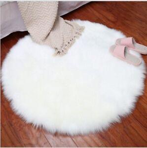 details sur moelleux tapis rond fausse fourrure peau de mouton anti derapant sol chambre