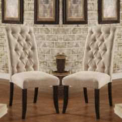 Dining Chairs At Marshalls Larry Chair Accessories Set Of 2 Marshall Ivory Padded Fabric Button Tufted Stock Photo