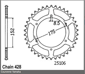 Steel crown for chain kit no 428 yamaha dt 125 r 1988