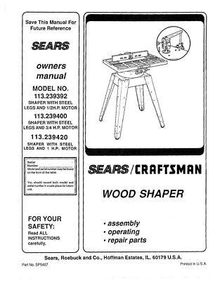 Craftsman 113.239420 113.239392 113.239400 Shaper