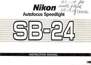 NIKON SB-24 AUTOFOCUS SPEEDLIGHT CAMERA FLASH INSTRUCTION