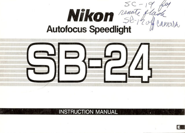 NIKON SB-24 AUTOFOCUS SPEEDLIGHT CAMERA FLASH INSTRUCTION