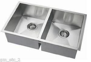 details about new 32 stainless steel double bowl zero radius corner kitchen sink