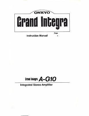 Onkyo Grand Integra A-G10 ULTRA RARE Instruction Manual