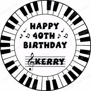 Personalised Piano Keyboard Keys Edible Icing Birthday