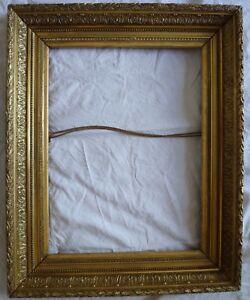 details sur grand cadre en bois dore xixeme pour tableau ou miroir de 50 x 66