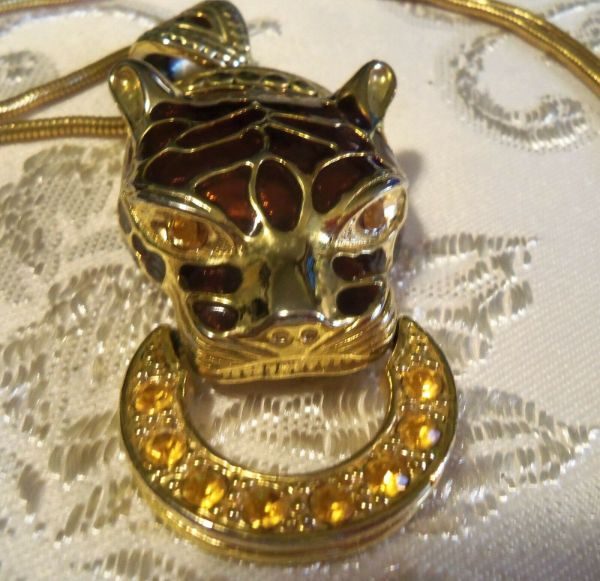 Vintage Long Gold Plated Cougar Panther Necklace Beautiful
