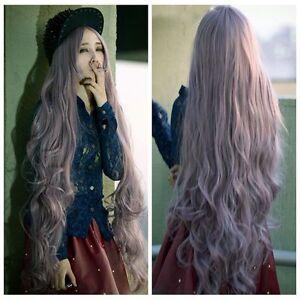 anime women long curly wavy blonde gray hair cosplay ita wig 100cm full wigs ebay