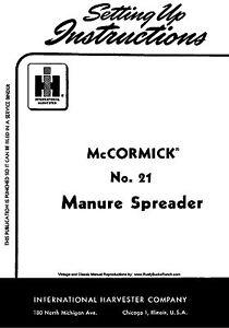 IH McCormick FARMALL Model 21 Manure Spreader Operators