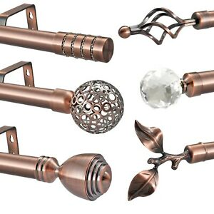 details about antique copper metal eyelet curtain pole rod 60cm finials 28mm diameter up to 4m