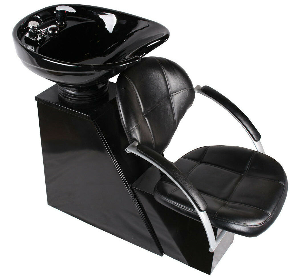 Salon Shampoo Chairs Backwash Ceramic Shampoo Bowl Sink Chair Barber Station