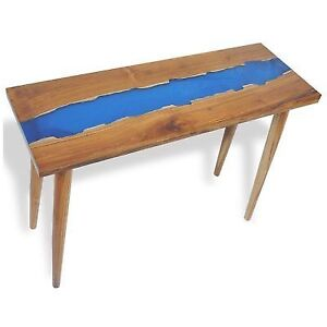 teak living room furniture best flooring for kitchen vidaxl solid console table w resin inlay end side