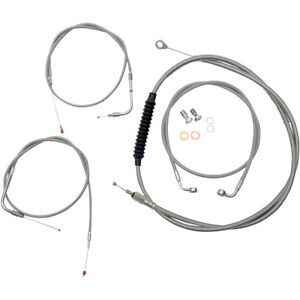 BRAIDED APE HANGER EXTENDED CABLE KIT HARLEY FLSTF FAT BOY