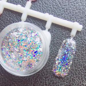 0.2g Nail Art Glitters Snowflake Sequins Rainbow Laser Powder Diamond Holo Flake