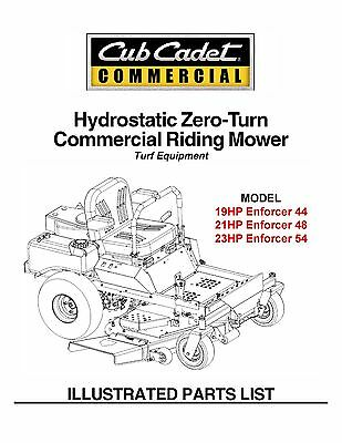 Cub Cadet Hydrostatic ZeroTurn Riding Mower Part Manual