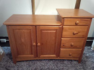 baby changing table dresser solid wood diaper station nursery furniture oak ebay